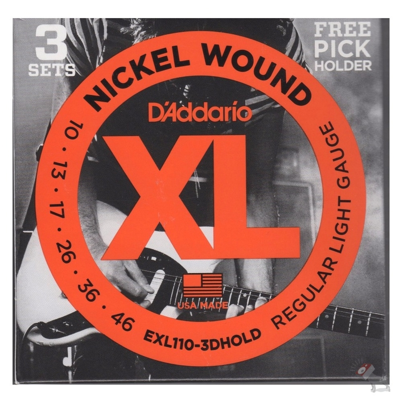 D'Addario EXL110-3DHOLD 3 Sets of EXL110 (10-46) Electric Guitar Strings and a Free Pick Holder