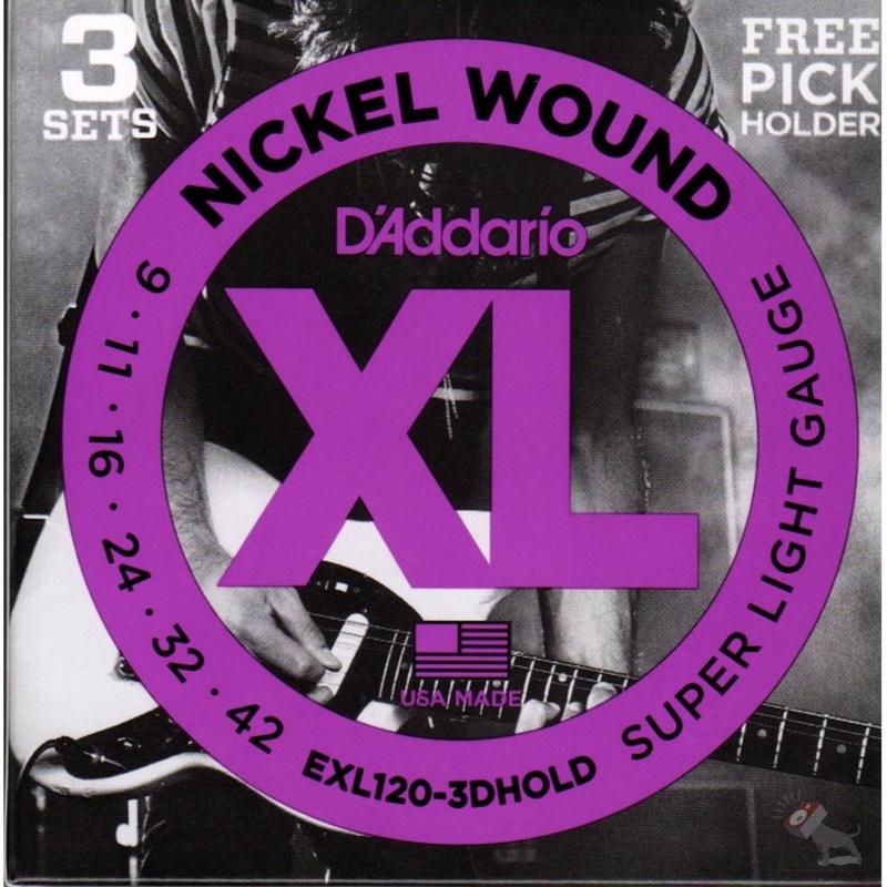 D'Addario EXL120-3DHOLD Super Light Gauge Strings with Guitar Pick Holder