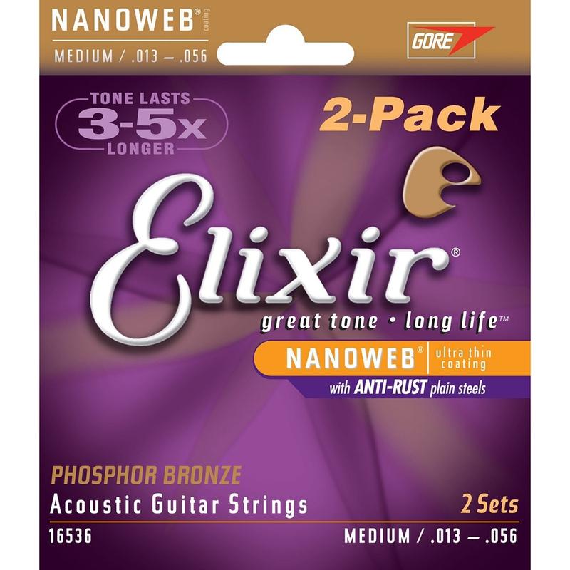 2 Sets of Elixir 16536 Nanoweb Phosphor Bronze Medium Acoustic Guitar Strings (13-56)