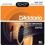 D'Addario EXP15 Coated Phosphor Bronze Acoustic Guitar Strings, Extra Light (10-47)
