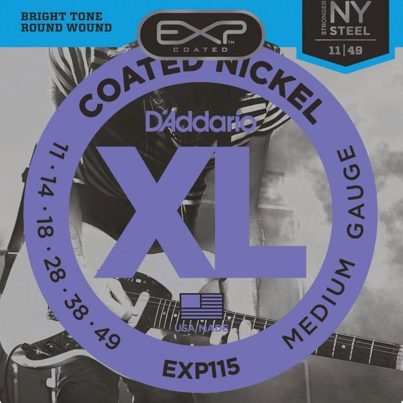 D'Addario EXP115 Coated Nickel Wound Blues/Jazz Electric Guitar Strings, Medium (11-49)