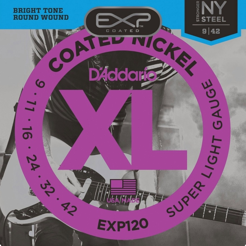 D'Addario EXP120 Coated Nickel Wound Electric Guitar Strings, Super Light (9-42)