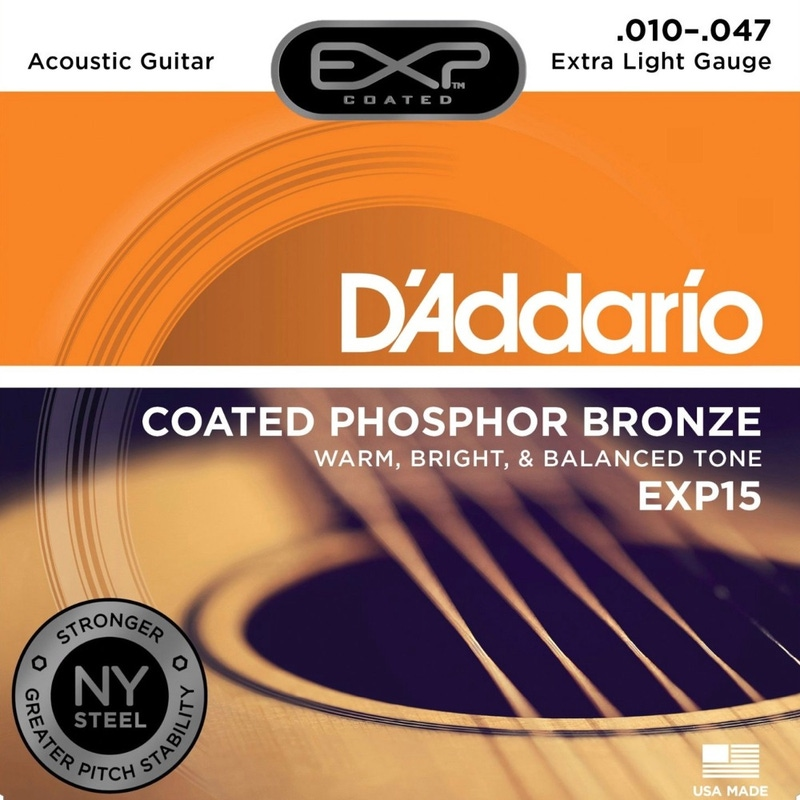 D'Addario EXP15 Acoustic Guitar Extra Light Coated Phosphor Strings 10-47 1-Set