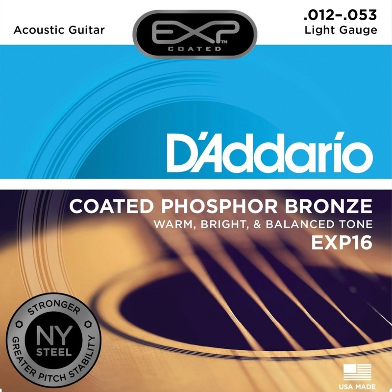 D'Addario EXP16 Coated Phosphor Bronze Light Acoustic Guitar Strings