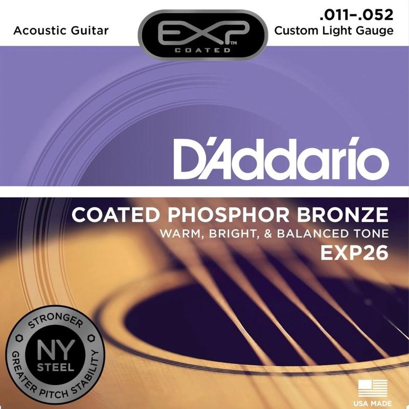 D'Addario EXP26 Coated Phosphor Bronze Acoustic Guitar Strings, Custom Light (11-52)