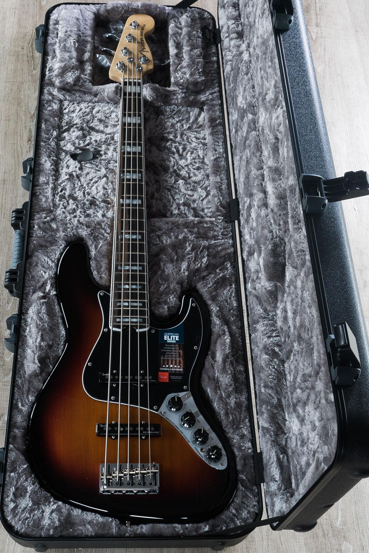 pitbull audio fender american elite jazz bass v ebony fingerboard hard case 3 color sunburst. Black Bedroom Furniture Sets. Home Design Ideas