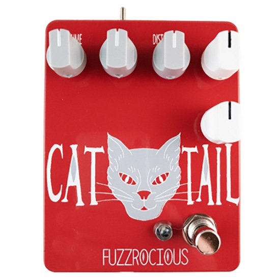 Fuzzrocious Pedals Cat Tail Distortion Guitar Pedal, Momentary Feedback Mod, Red