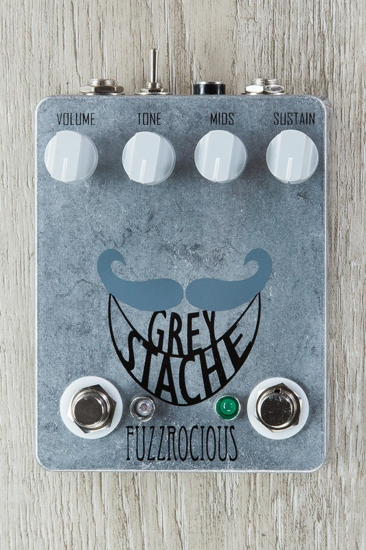 Fuzzrocious Pedals Grey Stache Fuzz Guitar Effects Pedal, Diode and Latching Oscillation Mods - Sparkle