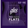 GHS 3025 Bass Precision Flats Flatwound Bass Guitar Strings, Light, 45-95