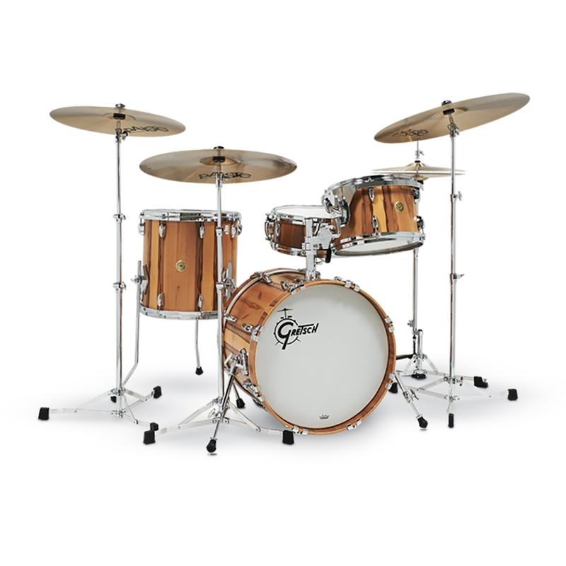 Gretsch Drums USA Custom GR-J484-RG Limited Edition Exotic Red Gum 4-Piece Drum Kit, Only 25 Made