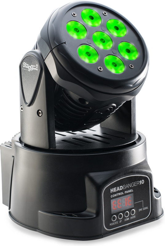 Stagg SLI MHW HB-10-1 Headbanger Pro DMX RGBW Mini LED Moving Head Light