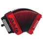 Hohner Compadre 2-Voice 62-Note 3-Row Diatonic Accordion Key of Bb/Eb/Ab - Red