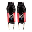 2-pack Hosa Pro Balanced Interconnect REAN 1/4 in TRS to 1/4 in TRS 20ft HSS-020