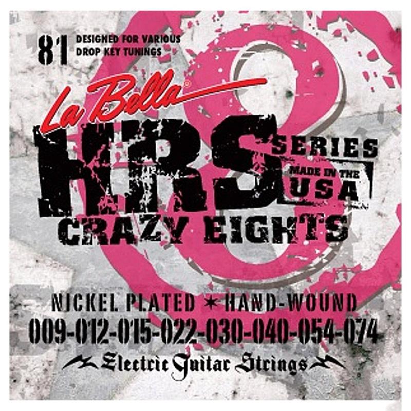 La Bella HRS-81 Nickel-Plated Electric Guitar Strings, 8-String (9-74)