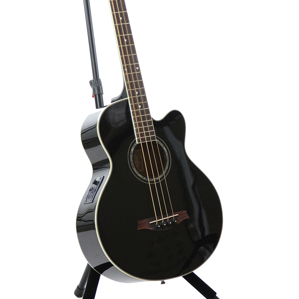 pitbull audio ibanez aeb10e acoustic electric bass guitar with onboard tuner in black. Black Bedroom Furniture Sets. Home Design Ideas
