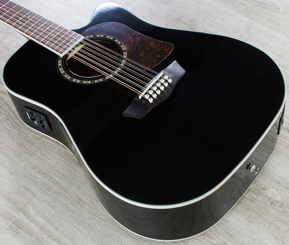 Washburn HD10SCE12B Heritage 10 Series 12-String Acoustic-Electric Guitar - Black