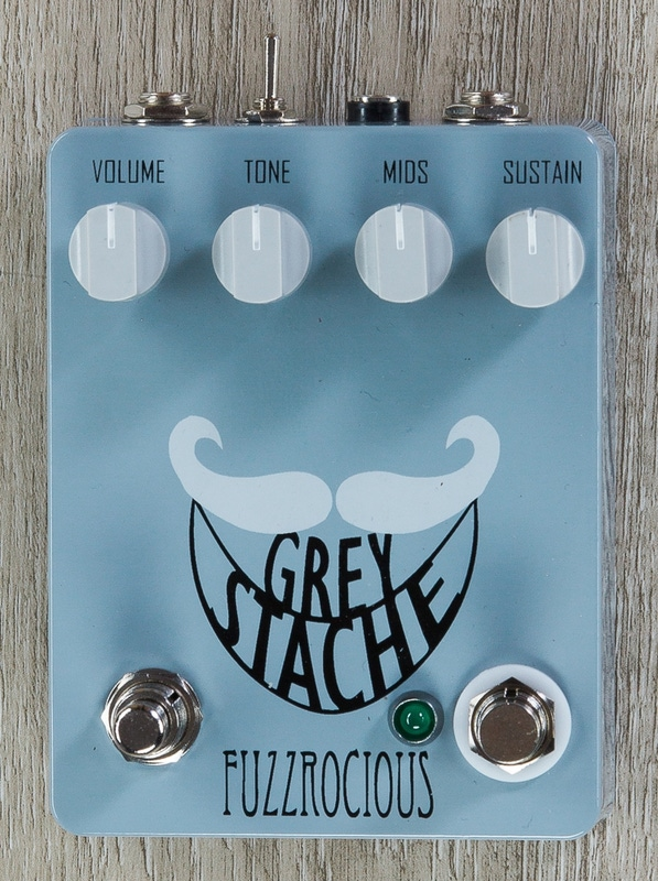 Fuzzrocious Pedals Grey Stache Fuzz Guitar Effects Pedal, Diode & Momentary Oscillation Mods - Grey