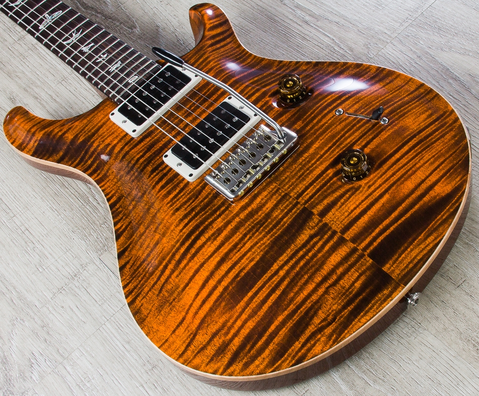 PRS Paul Reed Smith Custom 24 Electric Guitar, 10 Top, Pattern Thin, Hard Case - Orange Tiger (2015)