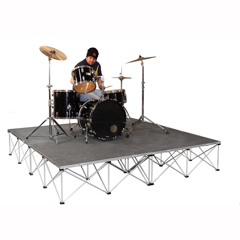 """INTELLISTAGE ISDRUM6416 64 SQ FT 16"""" High Drum Riser Platform with Collapsible Risers (96"""" x 16"""" x 96"""")"""
