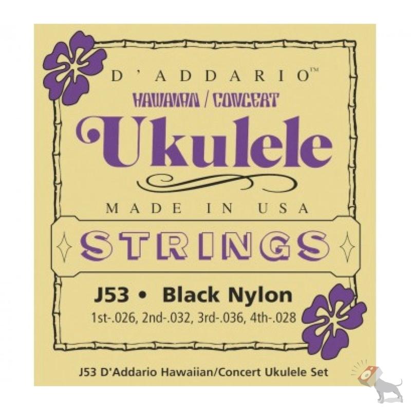 D'Addario J53 Hawaiian Concert Black Nylon Ukulele Uke Strings Single Pack