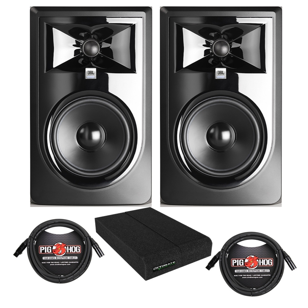 pitbull audio jbl 306p mkii powered studio monitor pair with isolation pads and xlr cables. Black Bedroom Furniture Sets. Home Design Ideas