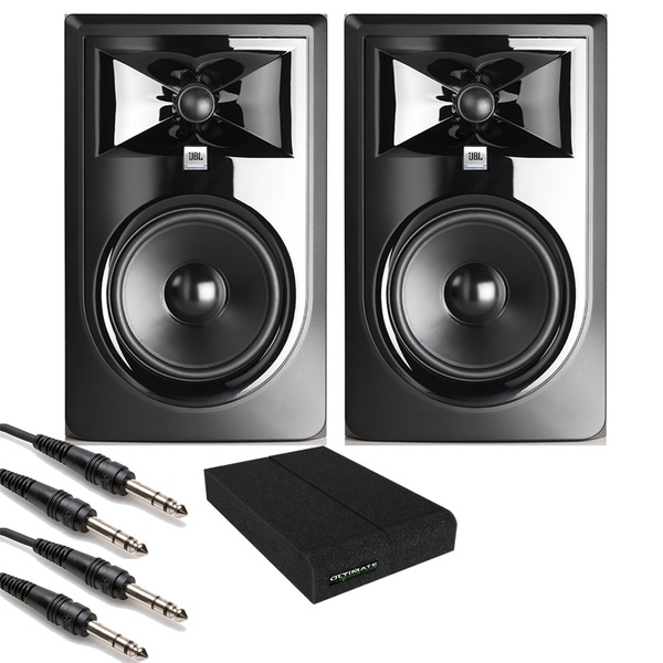 JBL 306P MkII Powered Studio Monitor Pair with Isolation Pads and TRS Cables