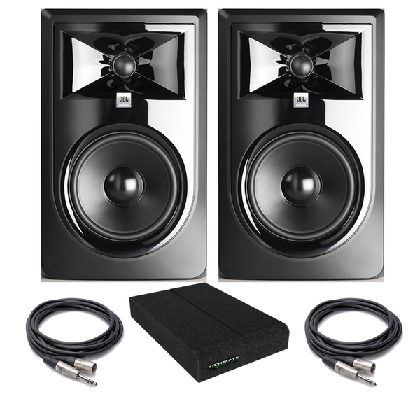JBL 306P MkII Powered Studio Monitor Pair with Isolation Pads and TRS/XLR Cables