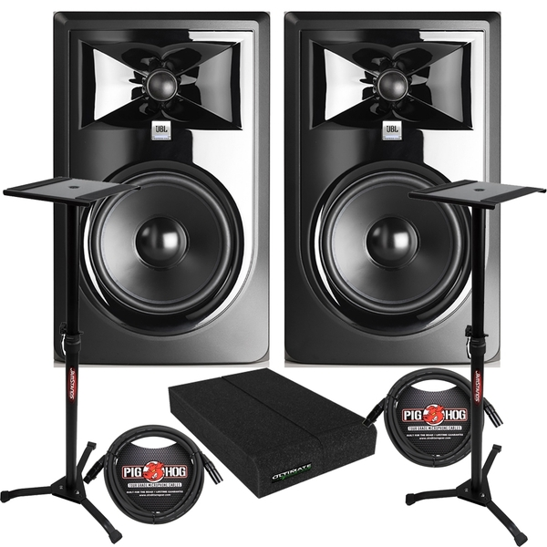 JBL 306P MkII Powered Studio Monitor Pair with Isolation Pads, XLR Cables, and Stands