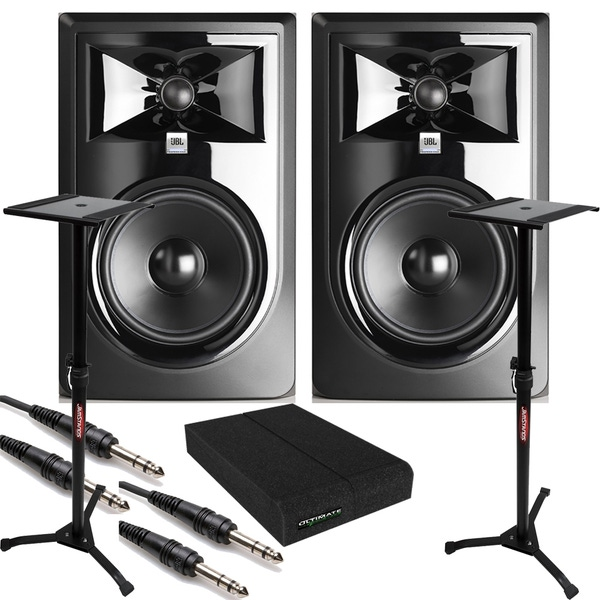 JBL 306P MkII Powered Studio Monitor Pair with Isolation Pads, TRS Cables, and Stands