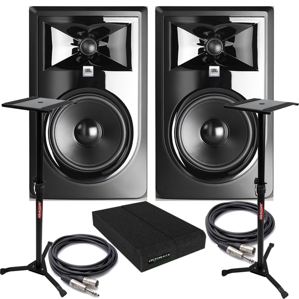 JBL 306P MkII Powered Studio Monitor Pair with Isolation Pads, TRS/XLR Cables, and Stands