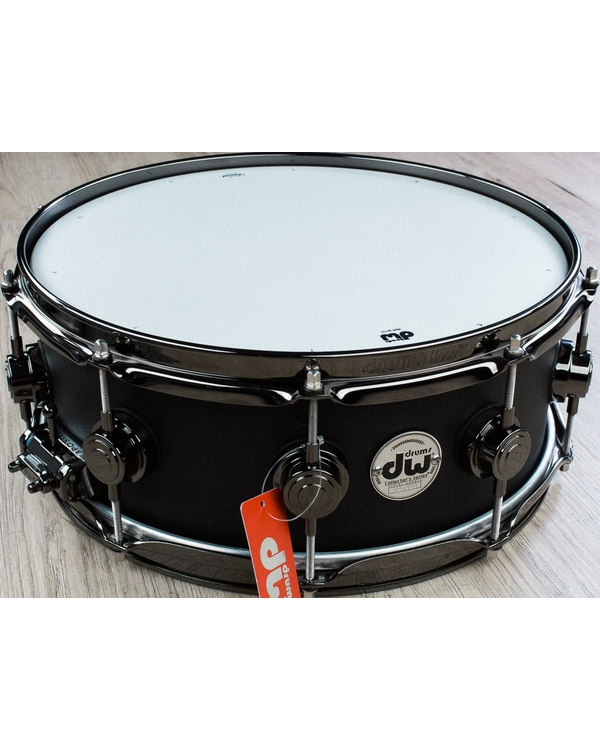 DW Drum Workshop Collector's Series Aluminum Snare Drum, Powder Coat - Matte Black (5.5