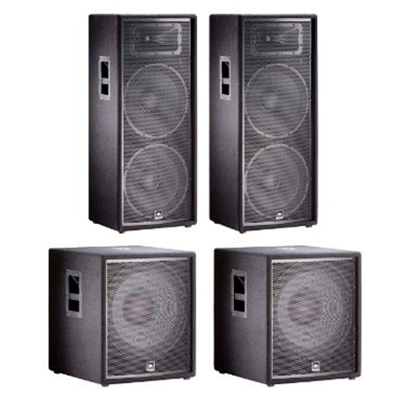 JBL JRX DJ PA Audio Speaker System - (2) JRX225 Speakers and (2) JRX218S Subs