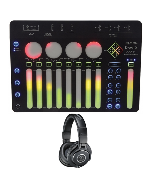 Keith McMillen Instruments K-MIX USB Audio Interface, Control Surface, & Performance Mixer with Audio Technica M40X Headphones
