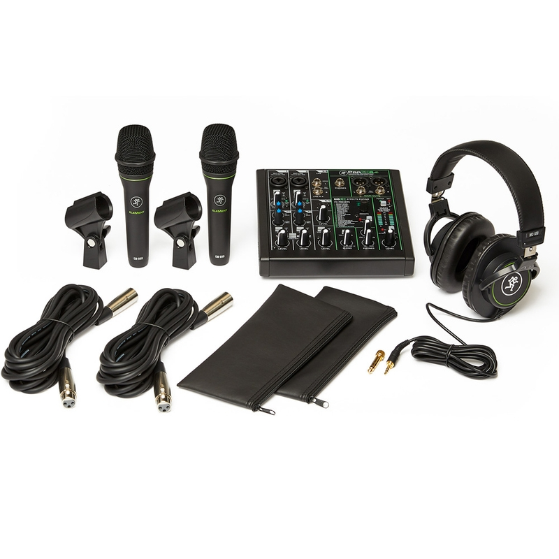 Mackie Performer Bundle Live Sound Mixer Microphone Headphones Cables Package