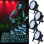American DJ Mega Par Profile 4 Pack with DMX Cables and Chauvet Obey 4 DMX Controller Lighting System