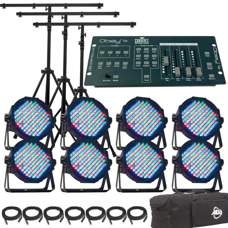 American DJ Mega Par Profile 8 Pack with DMX Cables and Chauvet Obey 4 DMX Controller Lighting System