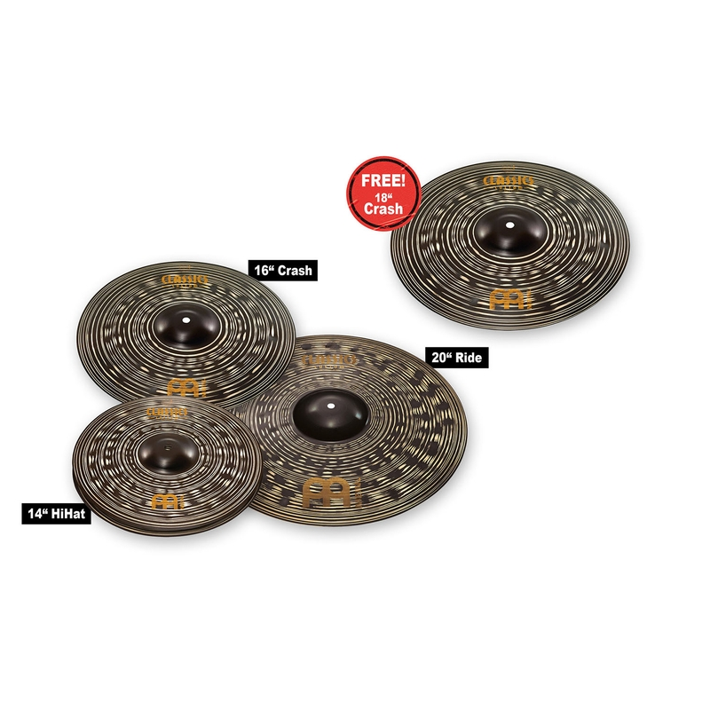 MEINL CCD460+18 Cymbals Classics Custom Dark Cymbal Set, 14 16 20 w/ 18'' Crash