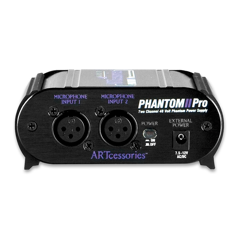 ART Pro Audio Phantom II Battery Operated XLR 2-Ch Condenser Mic Power Supply
