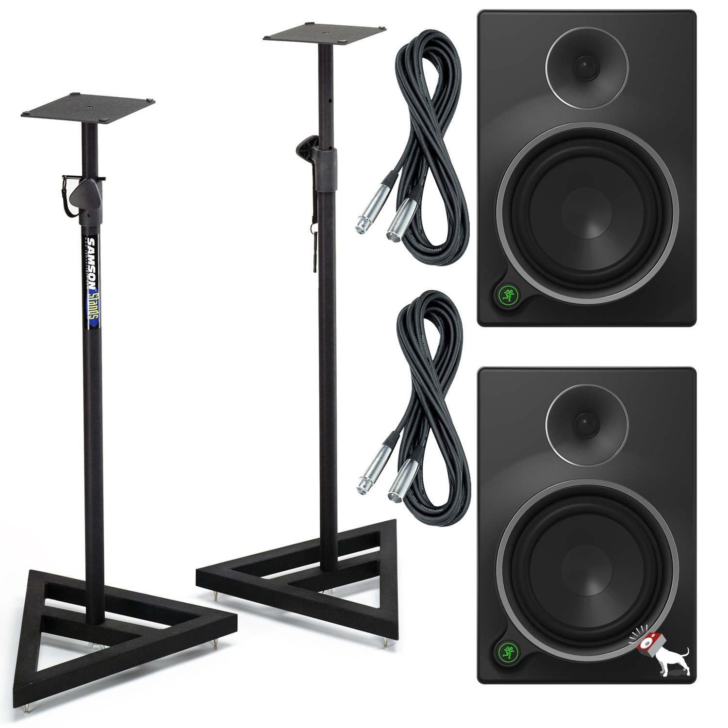 pitbull audio mackie mr8 mk3 powered studio speaker monitor pair w stands xlr cables. Black Bedroom Furniture Sets. Home Design Ideas