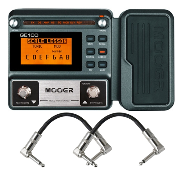 Mooer GE100 Guitar Multi-Effects Processor with Expression Pedal with Patch Cables