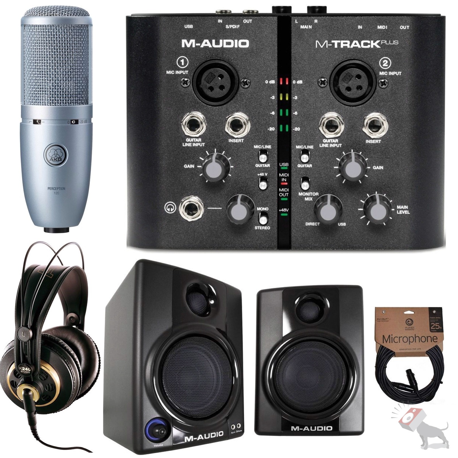 m audio m track plus w pro tools av30 monitors akg perception 120 mic k240 ebay. Black Bedroom Furniture Sets. Home Design Ideas