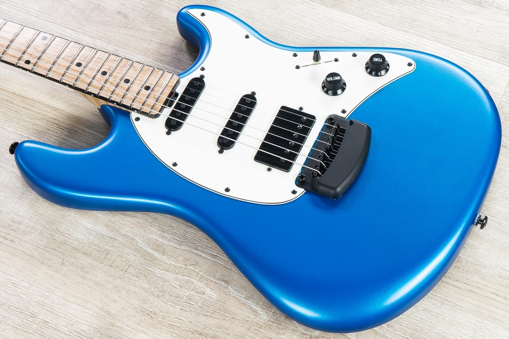 Ernie Ball Music Man Ball Family Reserve BFR Cutlass HSS Guitar, Blue Magic, Figured Maple Fretboard Neck and Fretboard