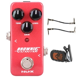 pitbull audio nux mini core brownie distortion guitar effects pedal with tuner and patch cables. Black Bedroom Furniture Sets. Home Design Ideas