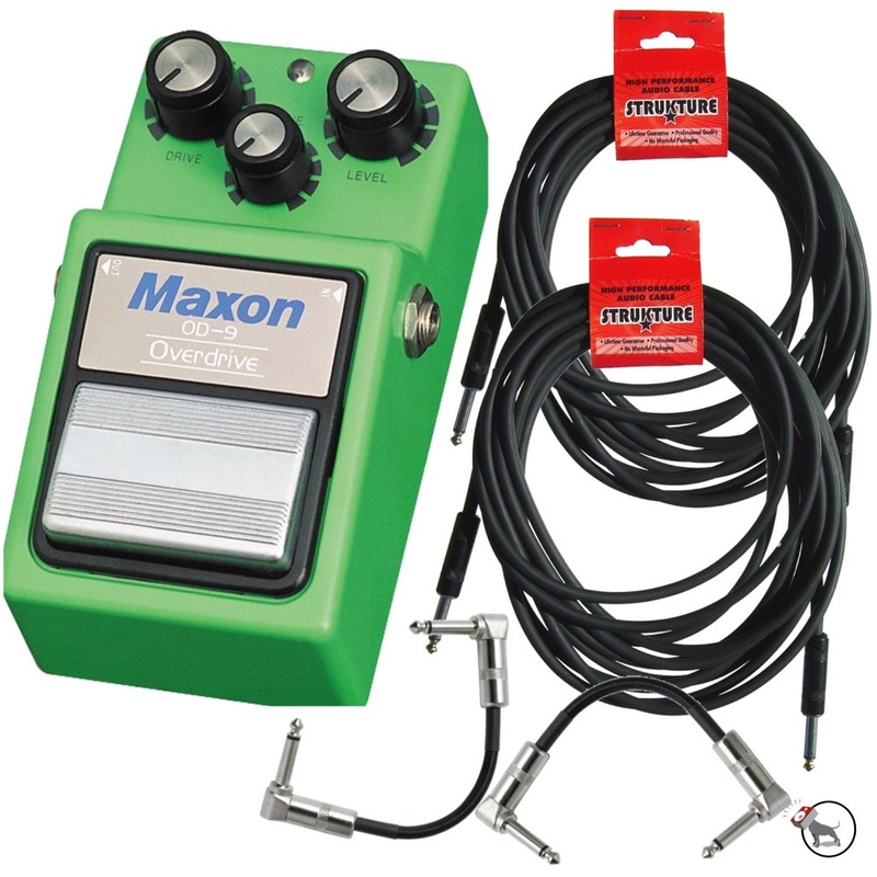 Maxon OD-9 Overdrive Distortion Guitar Effects Pedal with (2) 18.6 ft Instrument Cables & (2) 6 in. Patch Cables (Default)