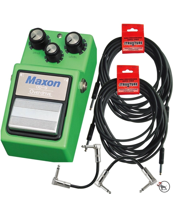 Maxon OD-9 Overdrive Distortion Guitar Effects Pedal with (2) 18.6 ft Instrument Cables & (2) 6 in. Patch Cables