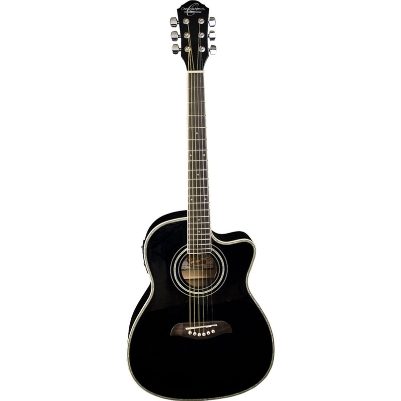 Oscar Schmidt OG1CE 3/4-Size Dreadnought Cutaway Acoustic-Electric Guitar - Black