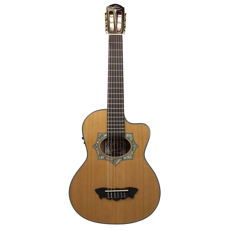 Oscar Schmidt OH30SCE Acoustic Electric Requinto Guitar Natural with Bag