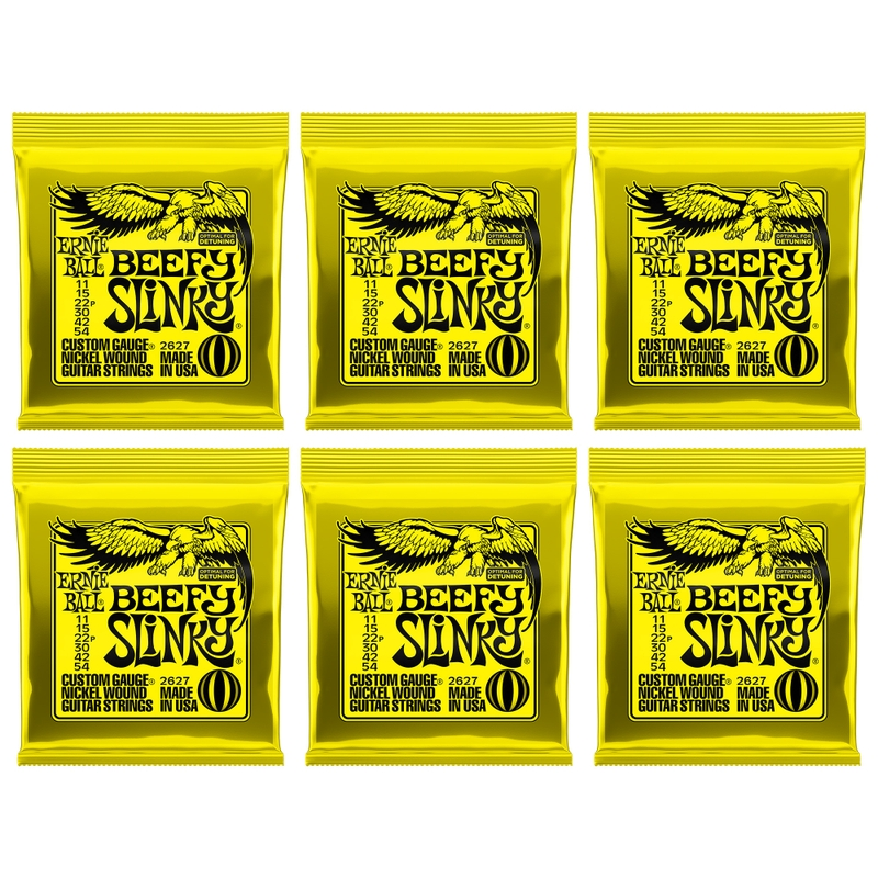 6-Pack Ernie Ball 2627 Beefy Slinky Nickel Wound Electric Guitar Strings (11-54)