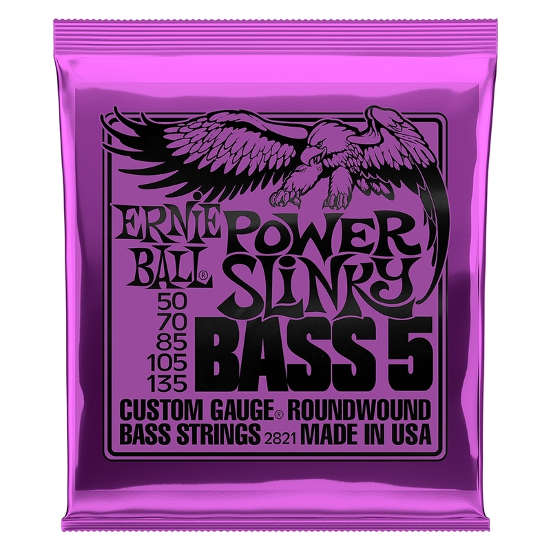 2-Pack Ernie Ball 2821 Power-Slinky 5-String Nickel Wound Electric Bass Strings (50-135)