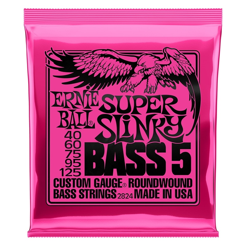 6-Pack Ernie Ball 2824 Super Slinky 5-String Nickel Wound Electric Bass Strings (40-125)